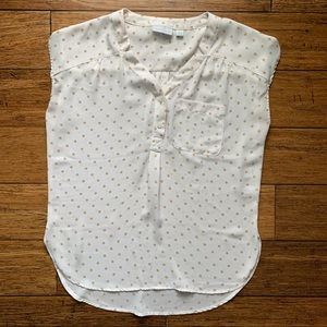 White with Gold Dots Sleeveless Shirttail Blouse